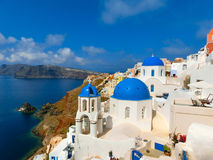 View to the sea from Oia village of Santorini island in Greece. View to the sea from Oia the most beautiful village of Santorini island in Greece Royalty Free Stock Photos