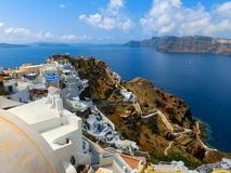 View to the sea from Oia village of Santorini island in Greece. View to the sea from Oia the most beautiful village of Santorini island in Greece Stock Image