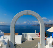 View to the sea from Oia village of Santorini island in Greece. View to the sea from Oia the most beautiful village of Santorini island in Greece Stock Photo