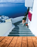 View to the sea from Oia village of Santorini island in Greece. View to the sea from Oia the most beautiful village of Santorini island in Greece Stock Photography
