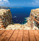 View to the sea from Oia village of Santorini island in Greece. View to the sea from Oia the most beautiful village of Santorini island in Greece Royalty Free Stock Image