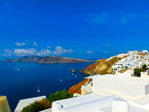 View to the sea from Oia village of Santorini island in Greece Royalty Free Stock Photos