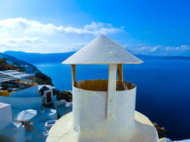 View to the sea from Oia village of Santorini island in Greece. View to the sea from Oia the most beautiful village of Santorini island in Greece Stock Images