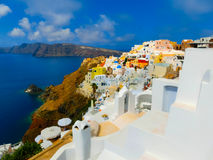View to the sea from Oia village of Santorini island in Greece. View to the sea from Oia the most beautiful village of Santorini island in Greece Stock Photos