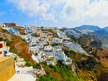 View to the sea from Oia village of Santorini island in Greece. View to the sea from Oia the most beautiful village of Santorini island in Greece Royalty Free Stock Photography