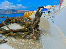 View to the sea from Oia village of Santorini island in Greece. View to the sea from Oia the most beautiful village of Santorini island in Greece Royalty Free Stock Images