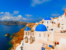 View to the sea from Oia village of Santorini island in Greece. View to the sea from Oia the most beautiful village of Santorini island in Greece Royalty Free Stock Photo