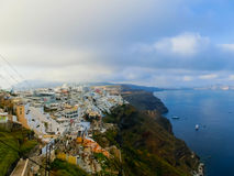 View to the sea from Oia village of Santorini island in Greece Royalty Free Stock Images
