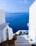 View to the sea from Oia village of Santorini island in Greece. View to the sea from stairs in Oia the most beautiful village of Santorini island in Greece Royalty Free Stock Photography