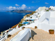 View to the sea from Oia village of Santorini island in Greece Stock Photos