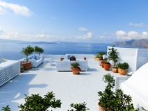 View to the sea from Oia village of Santorini island in Greece Royalty Free Stock Photography