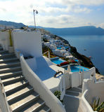 View to the sea from Oia village of Santorini island in Greece Royalty Free Stock Photo