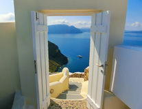 View to the sea from Oia village of Santorini island in Greece. View to the sea from stairs in Oia the most beautiful village of Santorini island in Greece Stock Photo