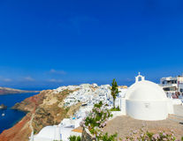 View to the sea from Oia village of Santorini island in Greece Stock Images