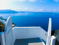 View to the sea from Oia village of Santorini island in Greece Stock Photography