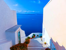 View to the sea from Oia village of Santorini island in Greece. View to the sea from stairs in Oia the most beautiful village of Santorini island in Greece Royalty Free Stock Photo