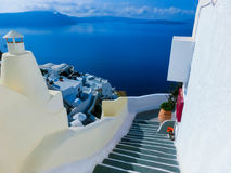 View to the sea from Oia village of Santorini island in Greece. View to the sea from stairs in Oia the most beautiful village of Santorini island in Greece Royalty Free Stock Image