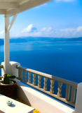 View to the sea from Oia village of Santorini island in Greece. View to the sea from stairs in Oia the most beautiful village of Santorini island in Greece Stock Image