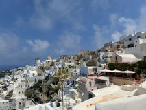 View to the sea from Oia village of Santorini Stock Images
