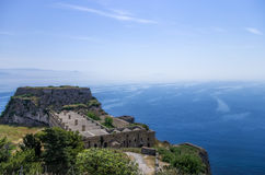View to the sea from the old fortress in Corfu island, Greece Royalty Free Stock Images