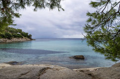 View to the sea on an overcast autumn day, in Chalkidiki, Greece Stock Images