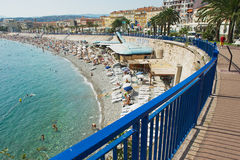 View to the seaside and public beach in Nice, France. Royalty Free Stock Photo