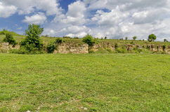 View to sedimentary rock in stone-pit area at Zavet town Stock Photography