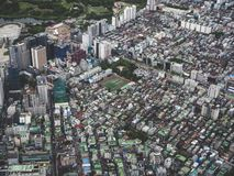 The view to Seoul city from the air stock photography