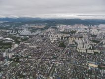 The view to Seoul city from the air royalty free stock image