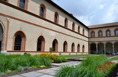 A view to the Sforza castle courtyard in Milan. Stock Images