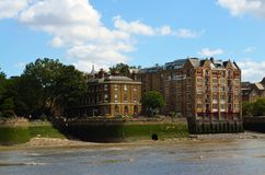 View to the shore development of the Thames in London, UK stock images