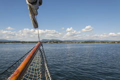 View to the shore from a sailboat. In Oslo fjord Royalty Free Stock Images