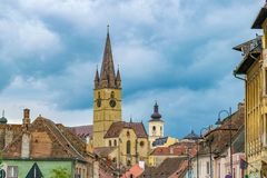 A view to the Sibiu city center and Lutheran Cathedral of Saint Mary in the Transylvania region, Romania.  stock image