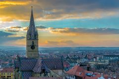 A view to the Sibiu Lutheran Cathedral of Saint Mary in the Transylvania region, Romania.  stock photos