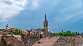 A view to the Sibiu Lutheran Cathedral of Saint Mary in the Transylvania region, Romania.  stock images