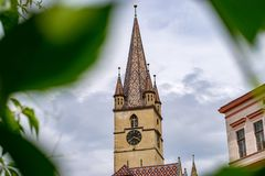 A view to the Sibiu Lutheran Cathedral of Saint Mary in the Transylvania region, Romania.  stock photo