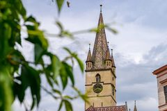 A view to the Sibiu Lutheran Cathedral of Saint Mary in the Transylvania region, Romania.  stock image