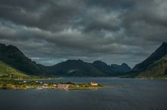 View to Sildpollnes church and mountains, Lofoten Islands. Norway royalty free stock image