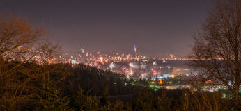 View to the Silvester Firework of the city Hechingen at the swabian alb.  Stock Photo