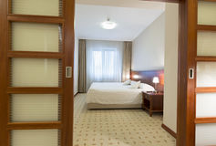 View to a single bed hotel room Royalty Free Stock Photography