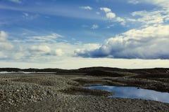 View to Skaftafellsjokull glacier with huge cumulus clouds, in S Royalty Free Stock Photo
