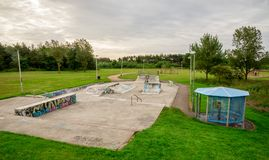 A view to the skate park and children playground in Westfield park in Aberdeen. City, Scotland Royalty Free Stock Photo