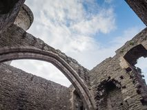 View to the sky from inside Conwy Castle, Wales Royalty Free Stock Photo