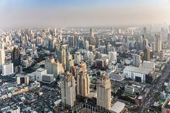 View to skyline of Bangkok in late afternoon with highways and Royalty Free Stock Photo