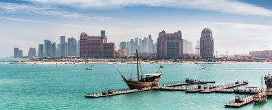 View to the skyline of Doha from the Katara Cultural Center Royalty Free Stock Photos