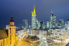View to skyline of Frankfurt with Hauptwache. FRANKFURT, GERMANY - JAN 21, 2015: view to skyline of Frankfurt with Hauptwache on in Frankfurt, Germany. The Stock Image