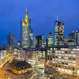 View to skyline of Frankfurt with Hauptwache. FRANKFURT, GERMANY - JAN 21, 2015: view to skyline of Frankfurt with Hauptwache on in Frankfurt, Germany. The Royalty Free Stock Images