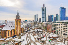 View to skyline of Frankfurt with Hauptwache and skyscraper ear. FRANKFURT, GERMANY - DECEMBER 14, 2010: Skyline of Frankfurt with famous Hauptwache in early Stock Photography