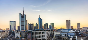 View to skyline of Frankfurt in sunset Royalty Free Stock Photography