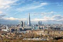 View to the skyline of London, UK, during a sunny day stock photography